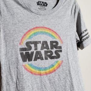 Star Wars juniors L rainbow logo scoopneck tee